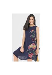 Vestido Desigual Curto Anjou Azul-Marinho