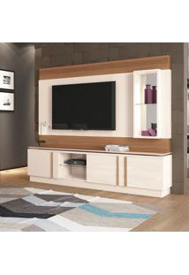 Estante Para Home Theater E Tv Até 70 Polegadas Vértice Off White E Marrom Nature