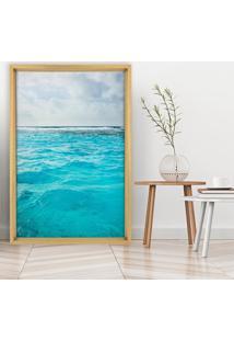 Quadro Love Decor Com Moldura Chanfrada Ocean Madeira Clara - Grande
