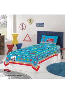 Jogo De Cama Truck Solteiro- Azul & Vermelho- 3Pã§S