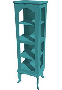 Cristaleira Colonial 1 Porta Atz122 - Azul Turquesa