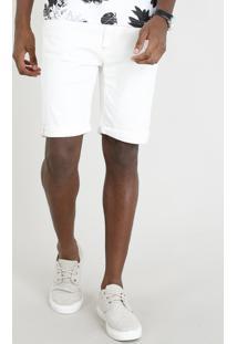 Bermuda Jeans Masculina Com Bolsos Off White
