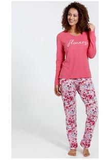 Pijama Feminino Manga Longa Estampa Floral Marisa