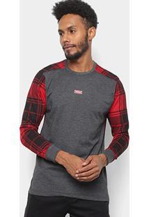 Camiseta Xadrez Manga Longa Overcore Estampada Masculina - Masculino-Cinza+Vermelho