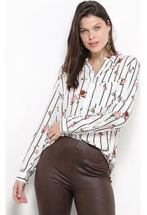 Camisa Social Facinelli Floral Feminina - Feminino-Branco