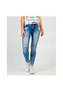 Calça Jeans Destroyed Skinny Feminina Cinto Biotipo
