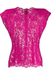 Dolce & Gabbana Blusa Translúcida Com Renda Floral - Rosa
