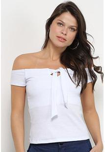 Blusa Flora Zuu Canelado Ombro A Ombro Feminina - Feminino-Branco