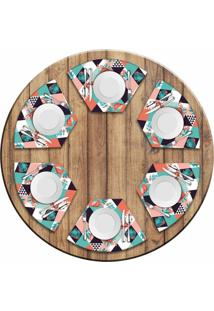 Jogo Americano Love Decor Para Mesa Redonda Wevans Flamant Abstract Kit Com 6 Pçs