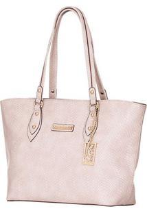 Bolsa Shopping Texturizada & Com Bag Charm - Bege Claro
