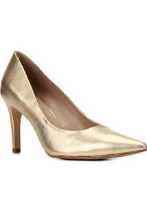 Scarpin Couro Shoestock Graciela Salto Alto Bico Fino - Feminino-Ouro