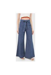 Calça Jeans Oh, Boy! Pantalona Amarração Azul-Marinho