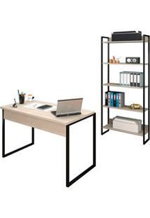 Conjunto Escritório Mesa 120 E Estante Studio Industrial M18 Carvalho