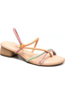 Sandália Feminina Salto Baixo Dakota Tiras Coloridas