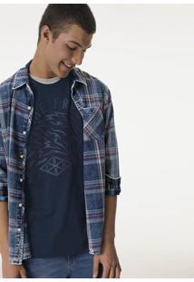 Camisa Masculina Regular Em Tecido De Algodão Com Estampa Xadrez