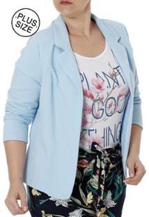 Blazer Plus Size Autentique Feminino - Feminino-Azul