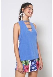 Blusa Detalhe Decote Tropical Oh, Boy! - Feminino-Azul