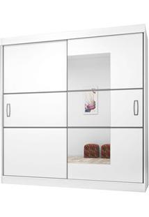 Guarda Roupa Casal 2 Portas De Correr Com Espelho 2040 Branco/Preto -