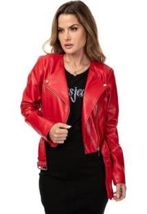 Jaqueta Ls Renna Cropped Moto Reckless Red Mult Feminina - Feminino