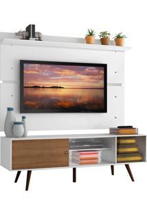 Rack Madesa Cairo E Painel Para Tv Até 65 Polegadas Com Pés De Madeira - Branco/Rustic/Branco Branco