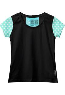 Camiseta Baby Look Feminina Algodão Estampa Conforto Moda - Feminino-Preto