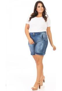 Shorts Jeans Meia Coxa Plus Size Confidencial Extra Feminino - Feminino-Azul