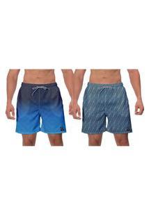 Kit 2 Shorts Moda Praia Azul Banho Estampado Ajustável Piscina Esporte Vôlei W2