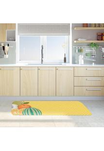 Tapete De Cozinha Mdecore Frutas Amarelo 40X120Cm