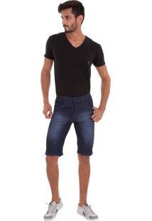 Bermuda Masculina Versani Jeans Escuro Botão Preto