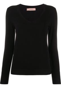 Twin-Set Suéter Slim Decote Em V - Preto