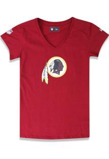 T-Shirt New Era Baby Look Washington Redskins Vermelho Escuro