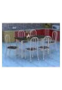 Conjunto De Mesa Granada Com 6 Cadeiras Madri Prata E Preto Floral Gr