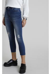 Calça Jeans Feminina Cropped Cintura Super Alta Com Rasgo Azul Escuro
