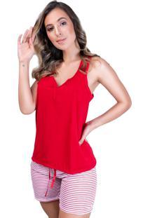 Pijama Mvb Modas Adulto Blusa E Short Com Laço Vermelho