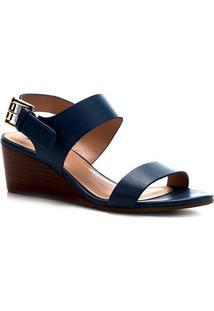 Sandália Shoestock Couro Fivela Anabela - Feminino-Azul