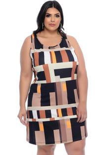 Vestido Plus Size Marrom Estampado Bloco-52 - Marrom - Feminino - Dafiti