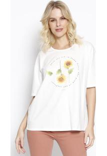"Camiseta ""Sunflower"" - Off White & Amarela - Sommersommer"