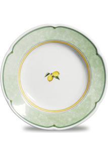 Conjunto De Pratos Fundo Provenza Lemon Porcelana 6 Peças Branco, Verde E Amarelo Verbano