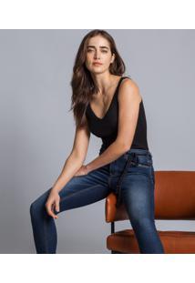 Calça Skinny Cropped Cinto Elastic Jeans - Lez A Lez