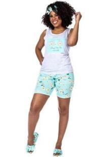 Pijama Baby Doll Regata E Short Curto Feminino - Feminino-Cinza Claro