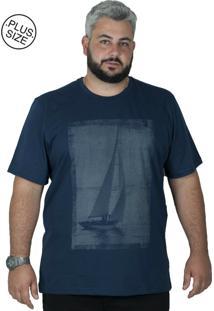 Camiseta Bigshirts Estampa Boat Azul Marinho