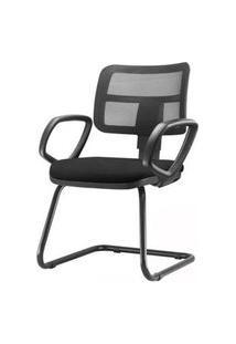 Cadeira Zip Tela Com Bracos Fixos Assento Crepe Base Fixa Preta - 54471 Preto