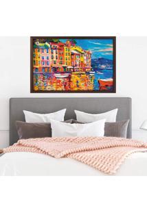 Quadro Com Moldura Veneza E Il Mare Madeira Escura - Mã©Dio - Multicolorido - Dafiti