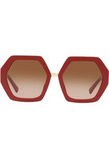 Valentino Eyewear Red Hexagonal Oversized V Logo Sunglasses - Vermelho