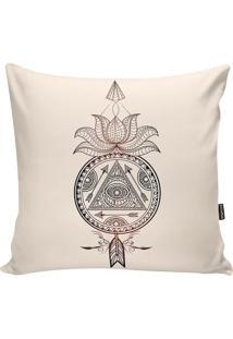 Capa De Almofada Indians- Bege & Preta- 42X42Cm-Stm Home
