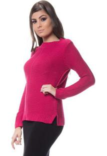 Blusa Logan Tricot Friz Na Frente Enas Mangas - Feminino-Rosa Escuro