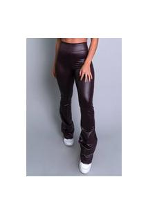 Calça Feminina Mvb Modas Flare Pantalona Cirrê Marrom
