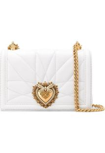 Dolce & Gabbana Devotion Heart Leather Cross Body Bag - White