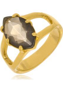 Anel Le Diamond Pedra Rutilo Dourado.