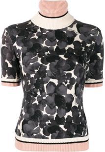 Elisabetta Franchi Floral-Print Short Sleeve Jumper - Cinza